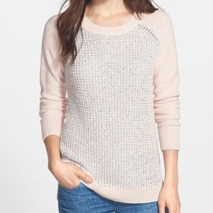 NYDJ Pink Silver Sequin Long Sleeve Sweater Top